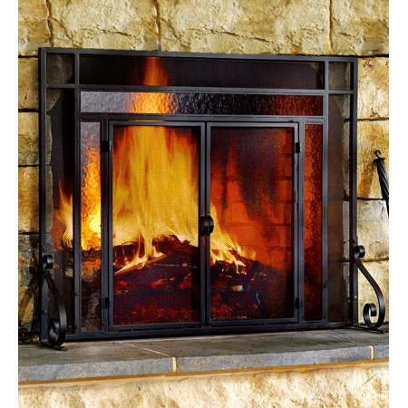 2-Door Steel Fireplace Fire Screen with Tempered Glass Accents, Black