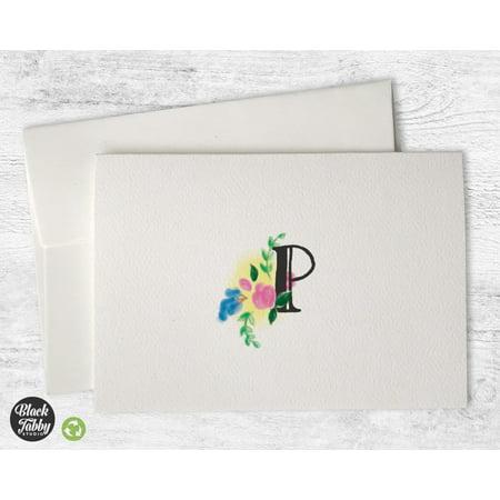 Monogrammed Cards (Floral Monogram (Letter P) - Stationery)