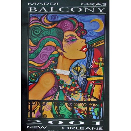 Lionel Milton Mardi Gras 2001 Balcony Art Print, World Famous Artist Lionel Milton- By New Orleans
