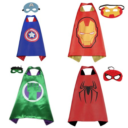 4 Set Superhero  Costumes - Capes and Masks with Gift Box by Superheroes - Adult Superhero Capes
