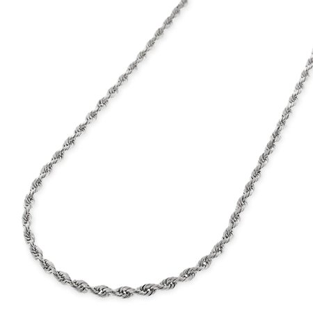 14k White Gold 1mm Solid Rope Diamond-Cut Link Twisted Chain Necklace 16