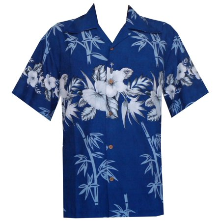 (Hawaiian Shirt 35 Mens Bamboo Tree Print Beach Aloha Party Holiday Blue 2XL)