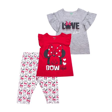 Minnie Mouse Ruffle Sleeve Top, Tank and Capri Legging, 3-Piece Outfit Set (Little Girls) - Minnie Mouse Outfits For Adults