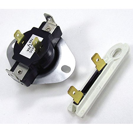 1 X 3387134 AND 3392519 DRYER CYCLING THERMOSTAT WITH INTERNAL BIAS HEATER OPENS AT 155F, CLOSES AT 130F & THERMAL FUSE for All Major Brand Dryers