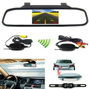 "Podofo Wireless Car Backup Camera Kit 4.3"" Mirror Monitor Waterproof License Plate Vehicle Rear View Camera with 7 LED IR Night Vision"