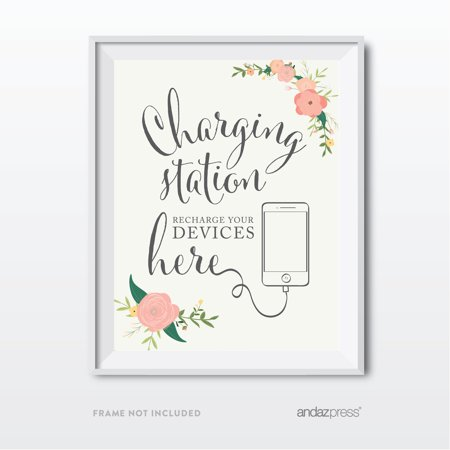 Recharge Station - Charging Station Floral Roses Wedding Party Signs