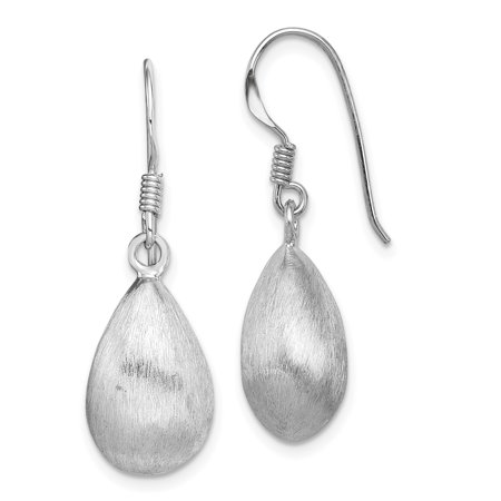 Sterling Silver Rhodium Plated Teardrop Textured Satin Dangle Earrings