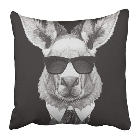 ARTJIA Animal Portrait of Kangaroo in Suit Hand Drawn Beautiful Beauty Bow Boy Character Collar Cool Pillowcase Pillow Cover 18x18 inches