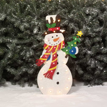 Holiday time 28 snowman light sculpture for 36 countdown to christmas snowman yard decoration