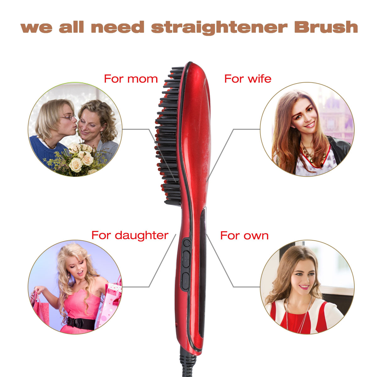 CoastaCloud Led Display Hair Straightening Brush Detangling Hair Brush For Faster Straightening,Instant Magic Silky Straight Hair Styling,Anti Scald,Zero Damage,Anti Scald with US