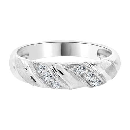 Sterling Silver White Rhodium, Lady Woman Bride Wedding Band Ring Created CZ Crystals
