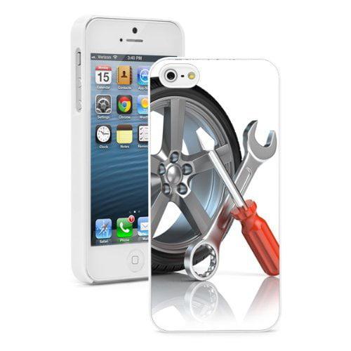 Apple iPhone (6 Plus / 6s Plus) Hard Back Case Cover Wheel Auto Repair Tools (White)