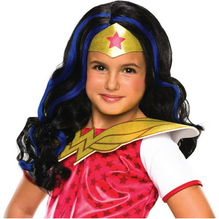 DC Superhero Girls: Wonder Woman Child Wig Halloween - Last Minute Halloween Ideas For Girls