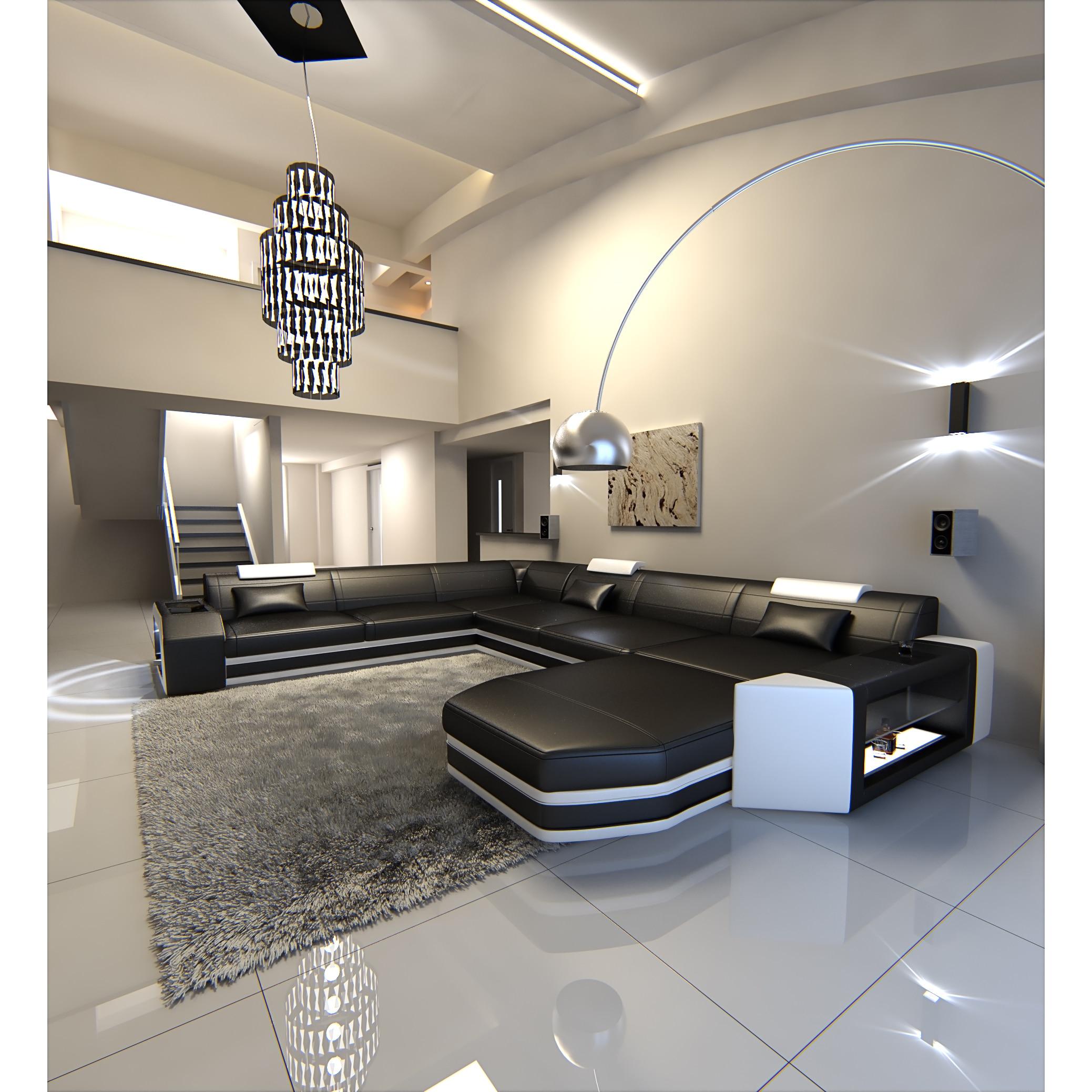 Sofadreams Modern U Shaped Sectional Sofa Dallas Xxl With Led Lights