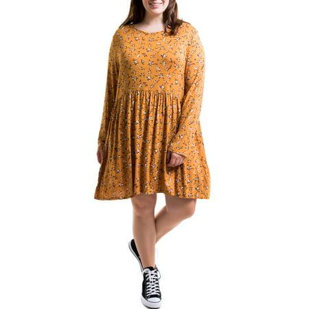 Heartbreak Juniors\' Plus Size Long Sleeve Babydoll Dress