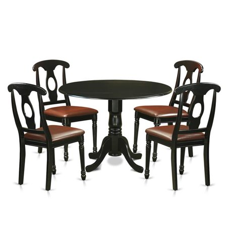 Dinette Table Set - Small Kitchen Table & 4 Chairs, Black - 5 Piece