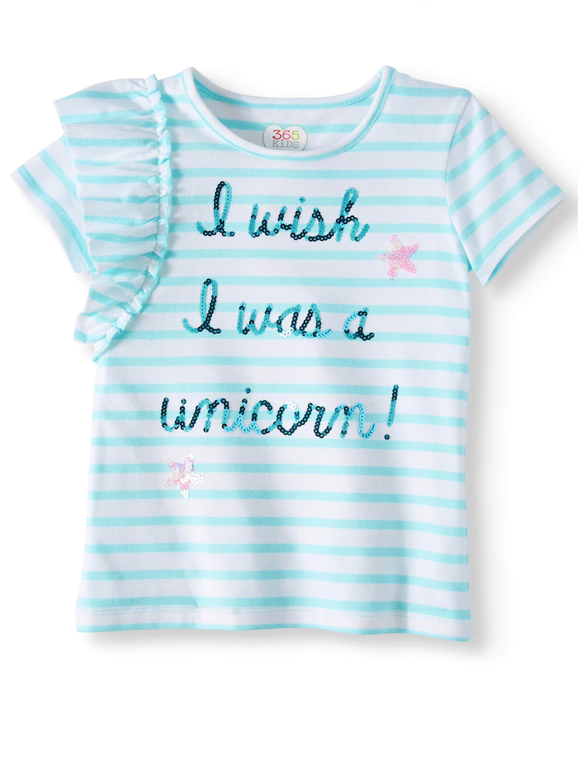 Striped Shoulder Ruffle Tee (Little Girls & Big Girls)