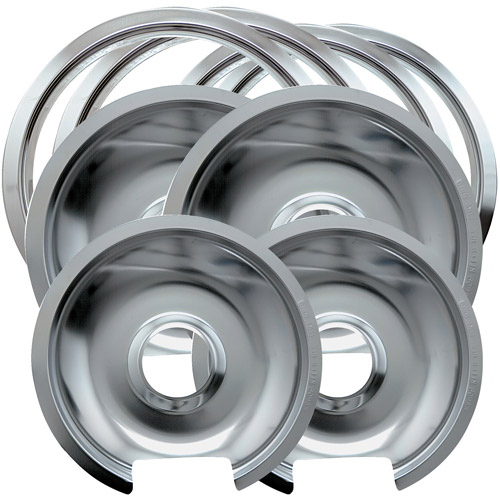 Range Kleen 8-Piece Drip Pan-Trim Ring, Style D fits Hinged Electric Ranges GE/Hotpoint/Kenmore, Chrome