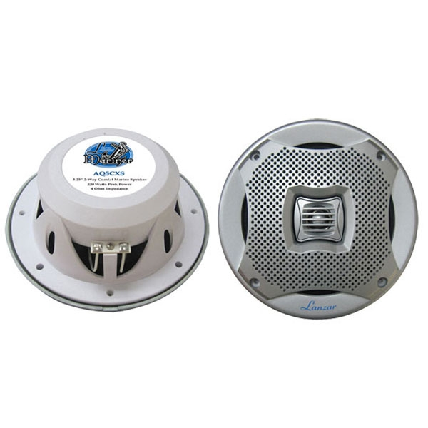"Lanzar 400 Watts 5.25"" 2-Way Marine Speakers (Silver Color)"