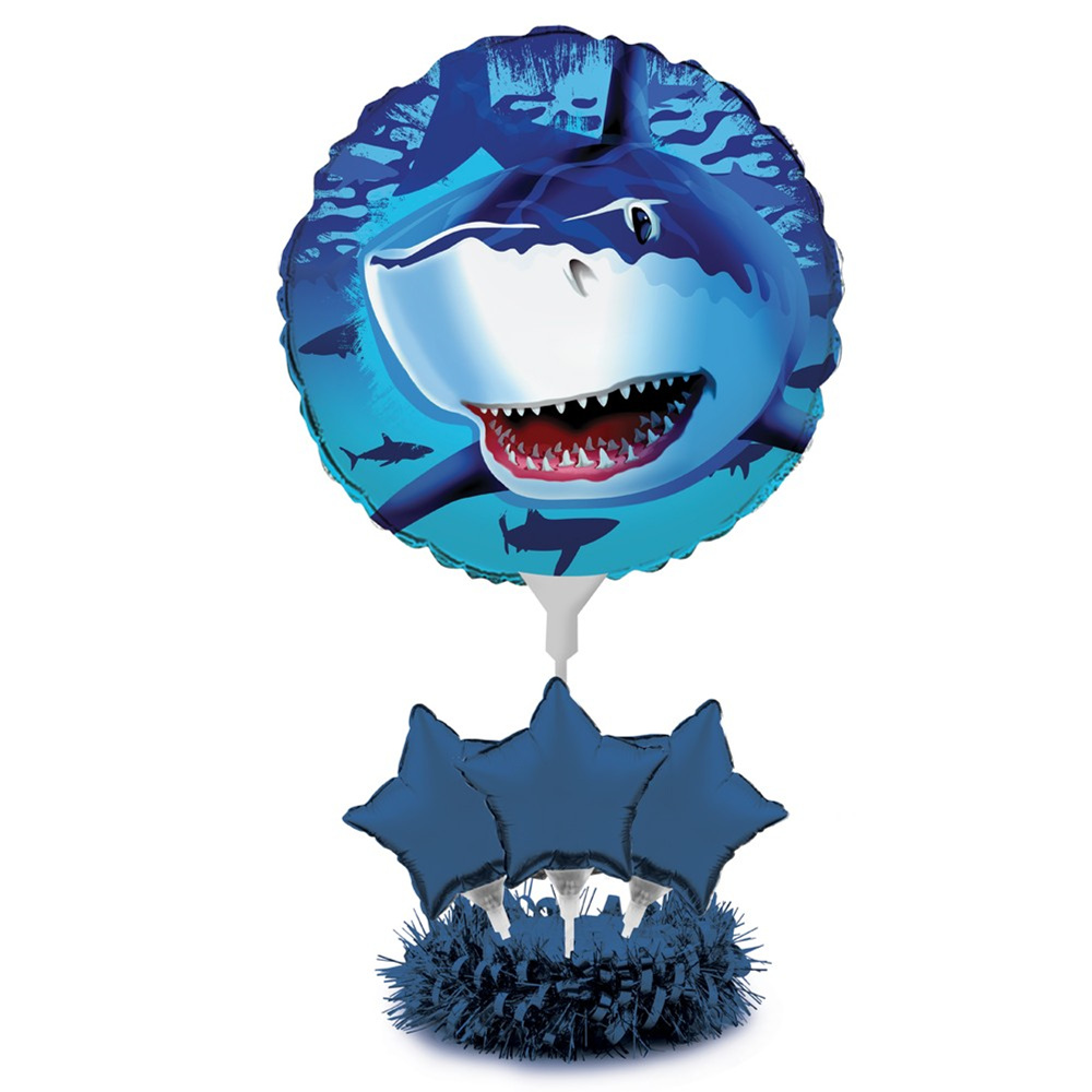 "6 1/2"" x 2"" Base Air Filled Balloon Centerpiece Kit Shark Splash/Case of 4"