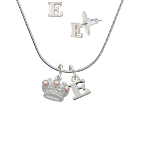 Crown with 3 Clear AB Crystals - E Initial Charm Necklace and Stud Earrings Jewelry Set