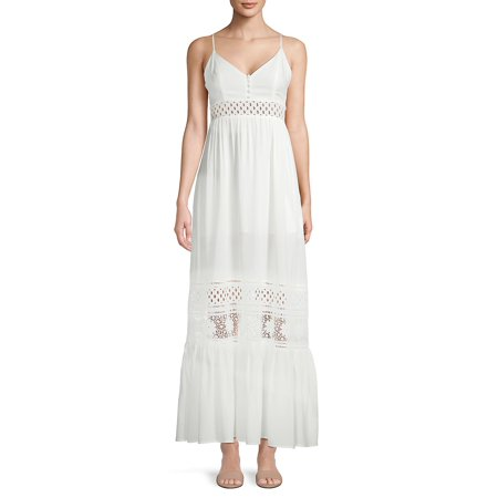 Kaia Crepe Mixed-Stitch Maxi Dress