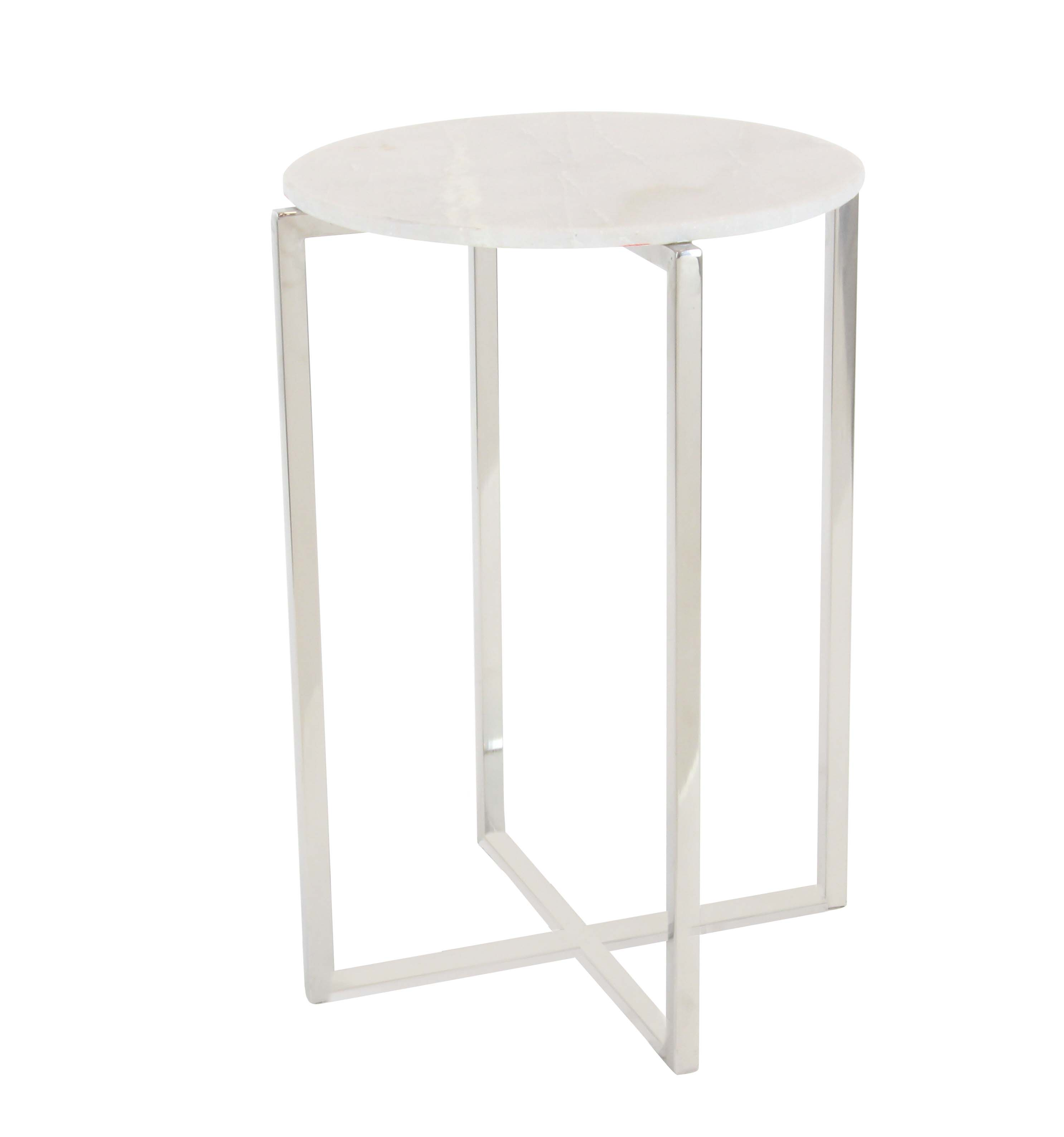 Decmode Modern 25 x 16 inch round stainless steel and marble accent table, White by DecMode