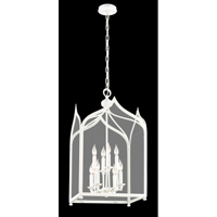 Pendants 8 Light With White Finish Hand-Worked Wrought Iron Material Candelabra 18 inch Wide 480 Watts