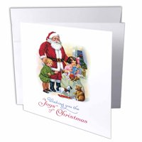 3dRose Vintage Santa with Children and his Bag of Toys Christmas Card Design, Greeting Cards, 6 x 6 inches, set of 6