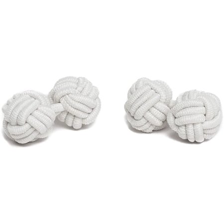 Jacob Alexander Pair of Solid Color Silk Knot Cufflinks - White Silk Knot Cufflinks