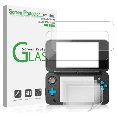 Nintendo 2DS XL amFilm 2 Tempered Glass (Top)   4 PET (Bottom) Screen