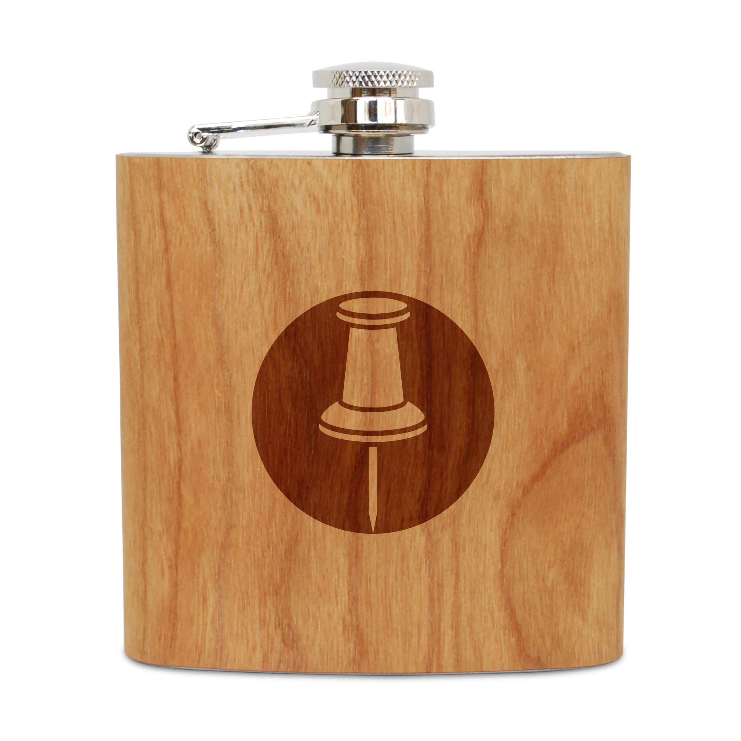 Pushpin 6 Oz Wooden Flask (Cherry), Stainless Steel Body, Handmade In Usa