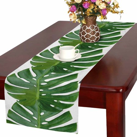 MKHERT Summer Tropical Palm Monstera Leaves Hawaiian Jungle Beach Theme Table Runner Home Decor for Wedding Banquet Decoration 16x72 Inch
