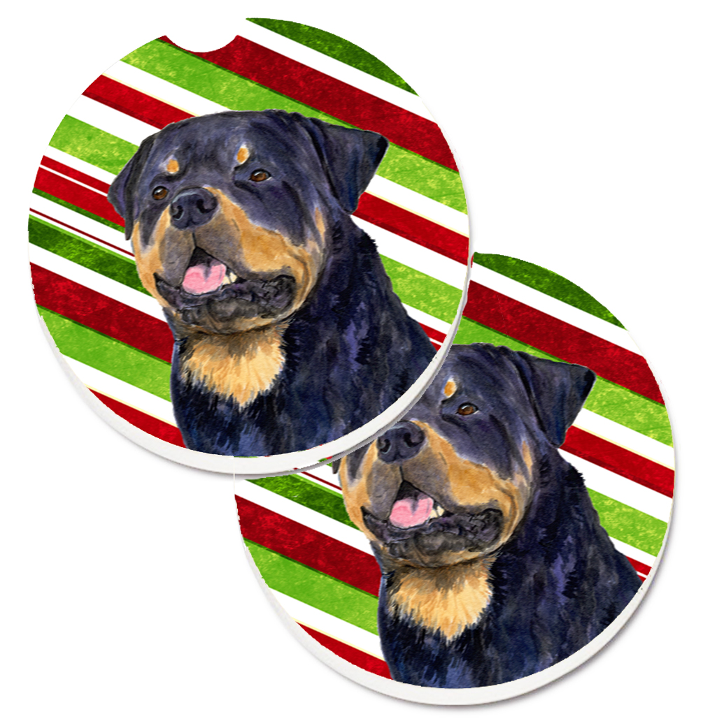 Rottweiler Candy Cane Holiday Christmas Set of 2 Cup Holder Car ...