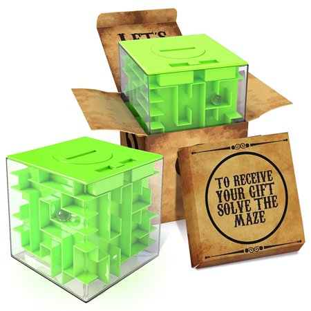 Cool Mazes (aGreatLife Money Maze Puzzle Box Gift: Green Perfect Puzzle Money Holder, Funny and Cool Brain Teasers for Kids, Boys, Girls, Teens and Adults, Perfect Christmas Gag)