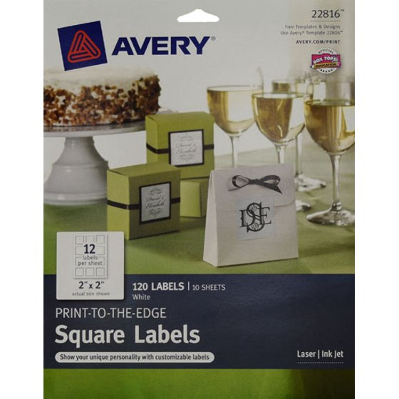 avery print to the edge labels square white 2 inches makes