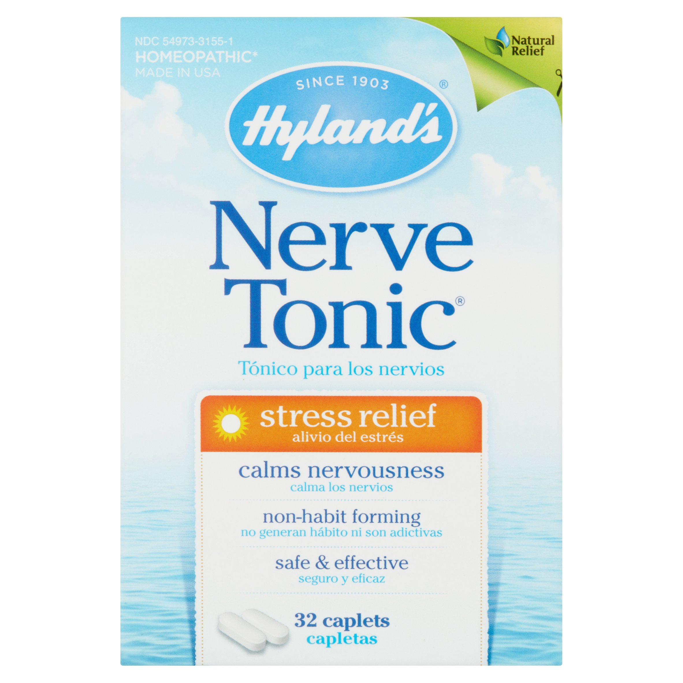 Hyland's Nerve Tonic Stress Relief Caplets, Natural Stress Relief Medicine, 32 Count