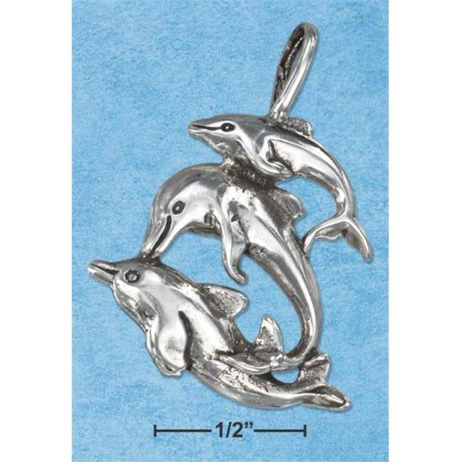 Sterling Silver Antiqued Family Of Dolphins Pendant