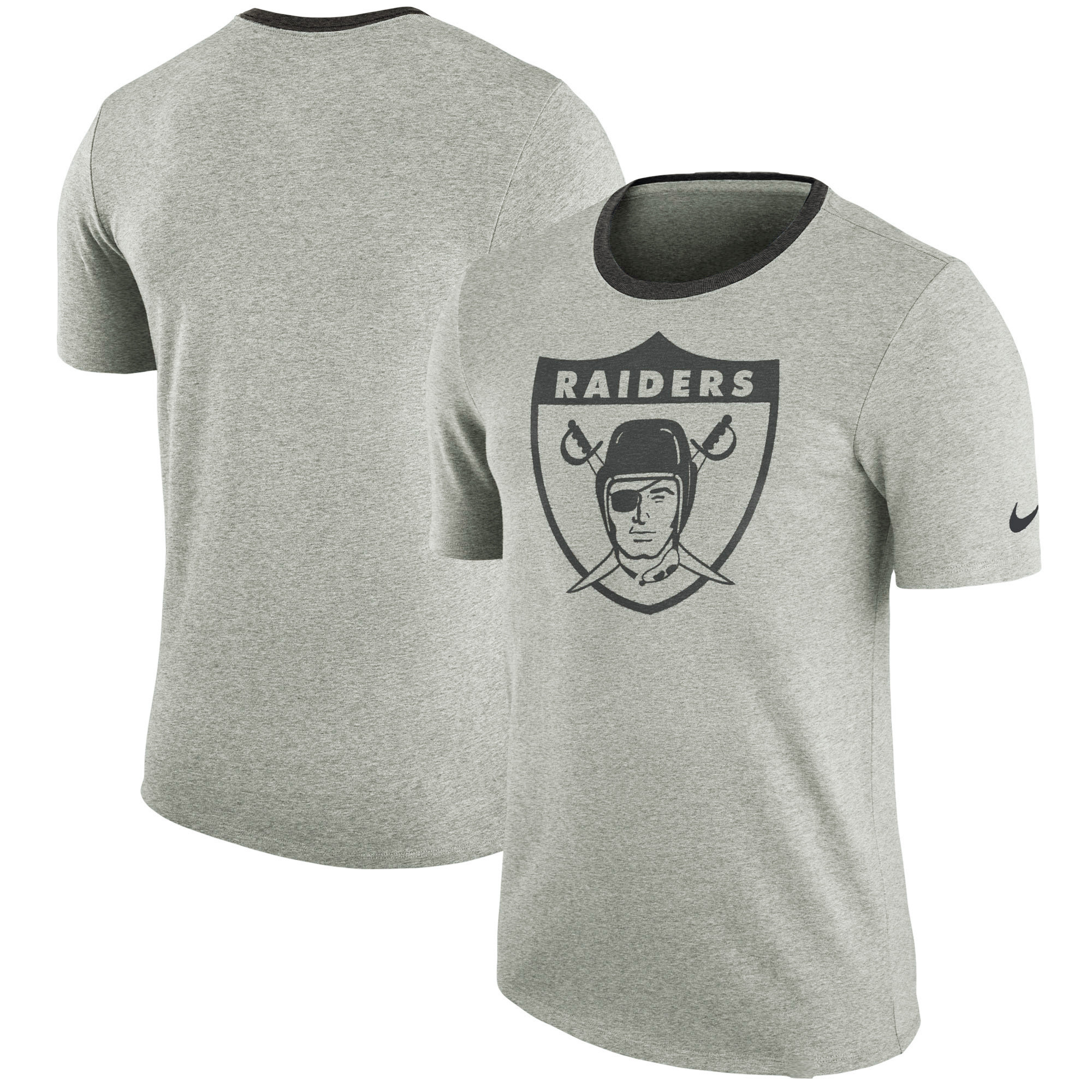 Oakland Raiders Nike Retro Modern Ringer T-Shirt - Heathered Gray