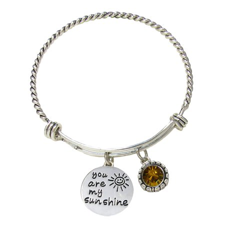 You Are My Sunshine Wire Bangle Bracelet With Yellow Crystal Accent Charm