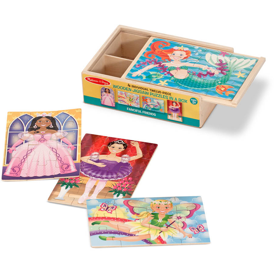 Melissa & Doug Fanciful Friends Wooden Jigsaw Puzzles in a Storage Box, 4 puzzles by Generic