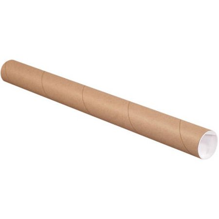 4 x 36 Mailing Tubes with End Caps - Brown Kraft (15 Qty.)