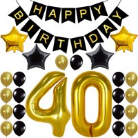 Decorations Happy Birthday Banner, 40th Balloons,Gold and Black, Number, Perfect 40 Years Old Par, Mgold