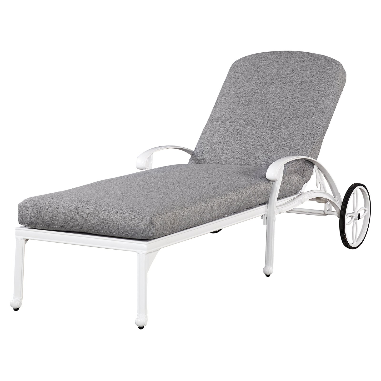 Home Styles Floral Blossom White Outdoor Chaise Lounge Chair With Cushion