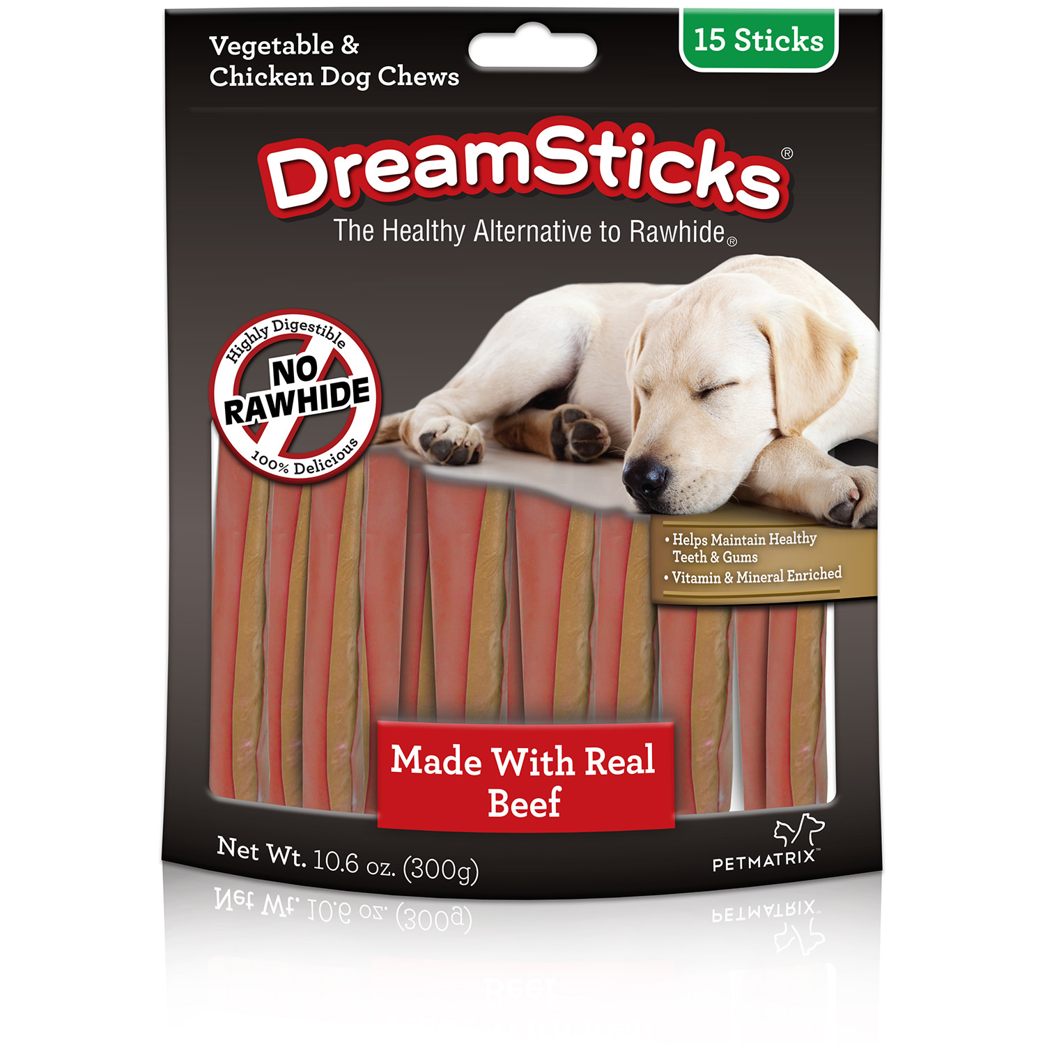 DreamBone DreamSticks With Real Beef 15 Count, Rawhide-Free