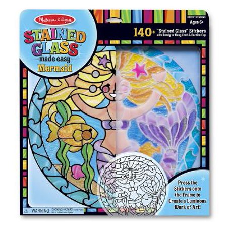 Melissa & Doug Stained Glass Made Easy Activity Kit: Mermaids - 140+ Stickers ()
