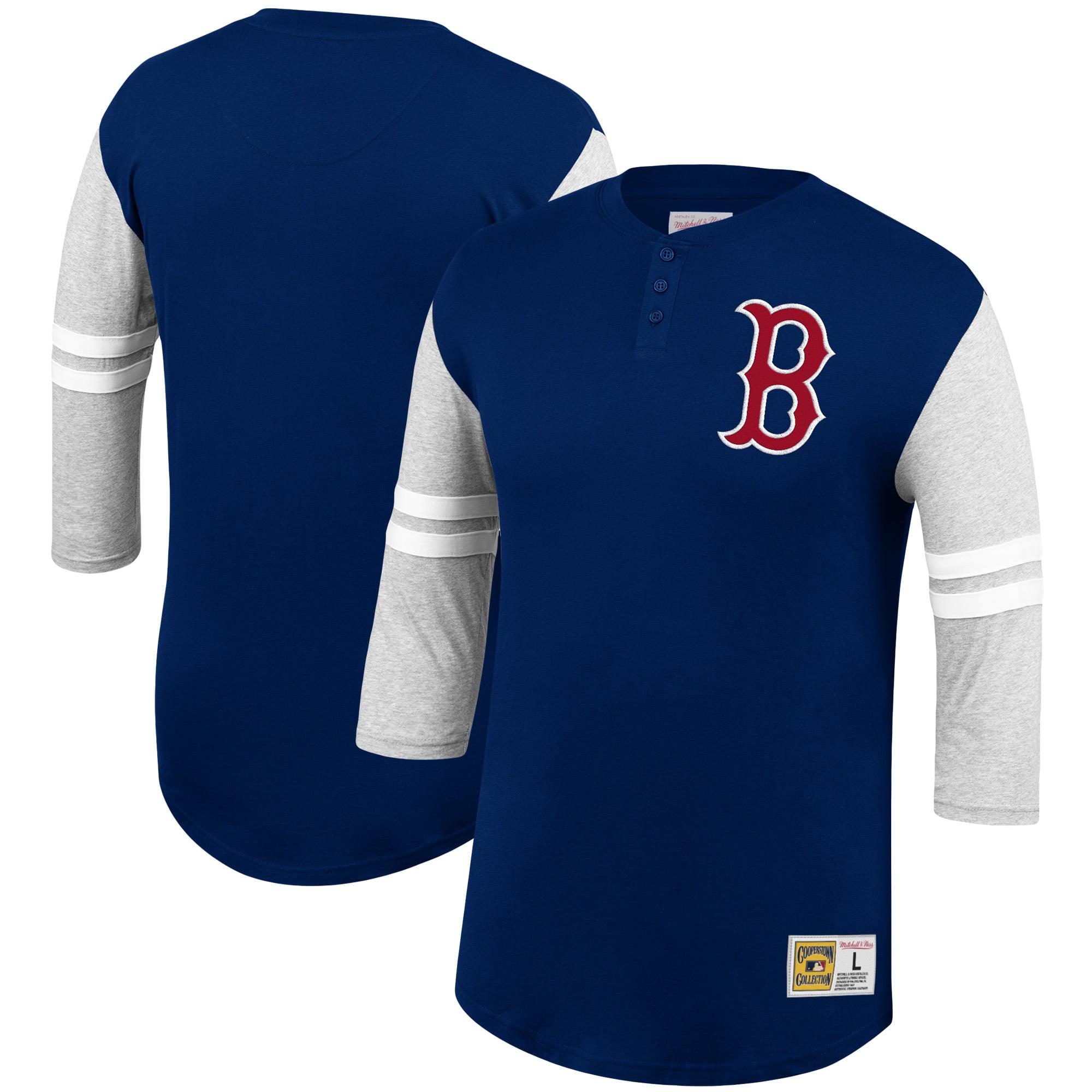 Boston Red Sox Mitchell & Ness 3/4-Sleeve Henley T-Shirt - Navy