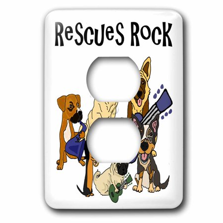 3dRose Cool fun Rescue Dogs Rock with pug, Mastiff, Dachshund - 2 Plug Outlet Cover (lsp_260900_6)