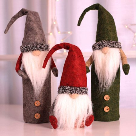 Christmas Wine Bottle Cover, Handmade Wine Bottle Toppers Santa Claus Bottle Bags with Drawstring Style Holiday Home Christmas Decorations Gift 3 Pack - image 3 de 10