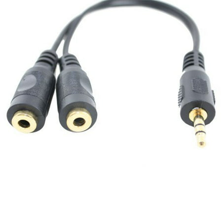 Gold Plate Audio Cable - Wideskall® 6 Inch 3.5mm Gold Plated Audio Stereo Y Splitter Adapter Cable (Bl...